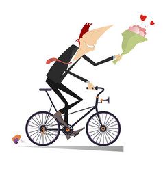 Smiling man on the bike with a bunch of flowers is vector