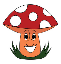smiling red mushroom on white background vector image