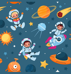 space seamless pattern cosmic objects and little vector image