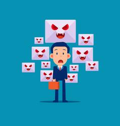 spam mail and virus online dangger flat cartoon vector image