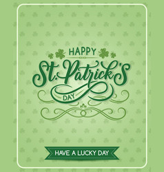St patrick day shamrock greeting card vector