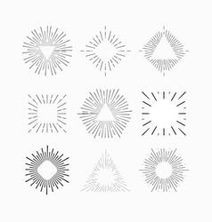Starburst hipster logo line art vector