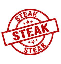 Steak round red grunge stamp vector