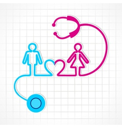 Stethoscope make malefemale and heart symbol stoc vector image