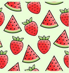 strawberry watermelon seamless pattern vector image