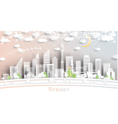 sydney australia city skyline in paper cut style vector image