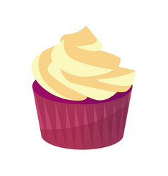 tasty cupcake with sweet cream icon of pastry vector image