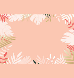 Tropical leaves creating border frame vector
