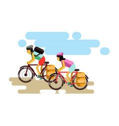 Two cycling boy and girl in vector
