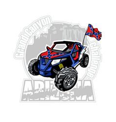 Utv car on arizona grand canyon logo vector