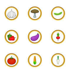 Vegetable icons set cartoon style vector