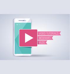video tutorials webinar vlog icon vector image