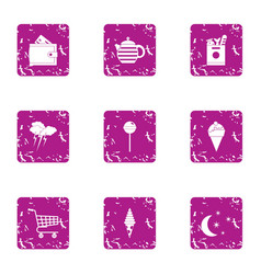 village shop icons set grunge style vector image