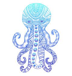 vintage ornamental octopus gradient blue color vector image
