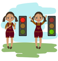 walk dont walk signal explanation by girl vector image