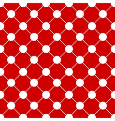 White Polka dot Chess Board Grid Red Background vector image