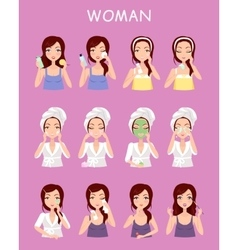 Woman Instruction How to Make Up Correctly vector