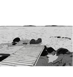 wonderful sea view pier sketch wooden port sea vector image
