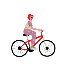 Young woman riding bike female athlete cyclist vector