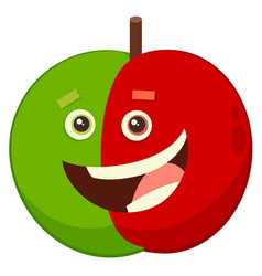 cartoon apple fruit character vector image vector image