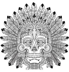 Indian skull with jewelry vector