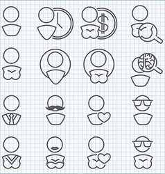 Man and woman icons set vector image vector image
