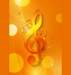 Music Notes on Abstract Orange Background vector image vector image