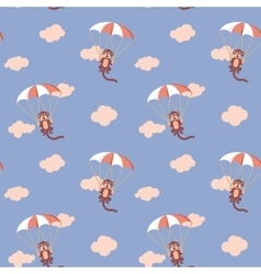 Pattern of monkeys with parachute Rose Quartz and vector image vector image