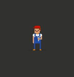pixel art plumber vector image