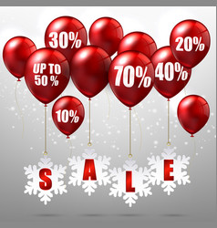 balloons and discounts on sale background vector image vector image