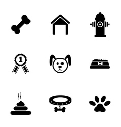 black dog icons set vector image vector image