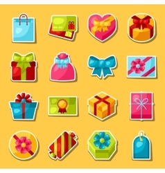 Celebration sticker set of colorful gift boxes vector image vector image