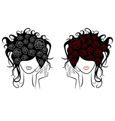 Female head with rose flowers in a hair vector image