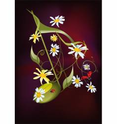 musical notes flowers and ladybirds vector image