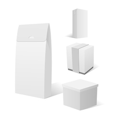 Realistic empty white Cardboard Box Packages vector image