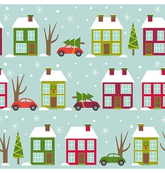 seamless pattern with houses and cars in winter vector image vector image