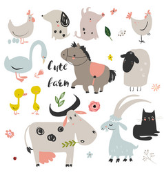 set of cute farm animals vector image