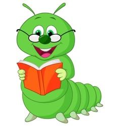 Caterpillar reading book vector