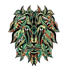 Colored Ornamental Tattoo Lion Head vector image vector image
