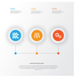 construction icons set collection of cogwheel vector image