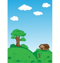 Landscape with trees clouds house and mountains vector image
