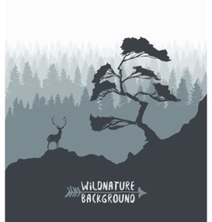 Forest pine tree deer silhouette drawn vector image