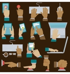 Hands set with gadgets vector image