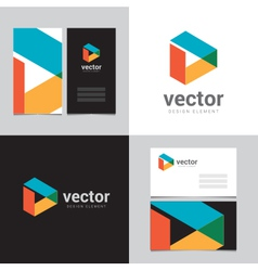 Logo design element with two business cards - 08 vector image