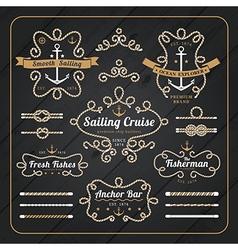 Vintage nautical rope frame labels set vector