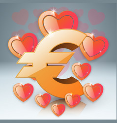 3d infographic heart euro money vector