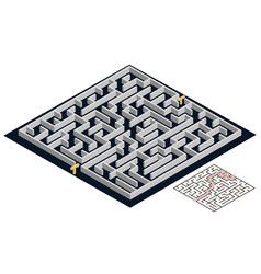 3d maze isometric view labyrinth puzzle game vector