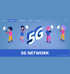 5g isometric wireless net landing page 3d vector image