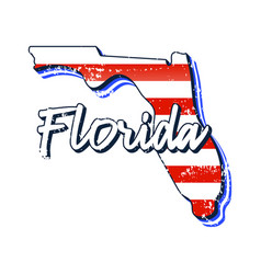 american flag in florida state map grunge style vector image