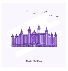Atlantis the palm landmark purple dotted line vector